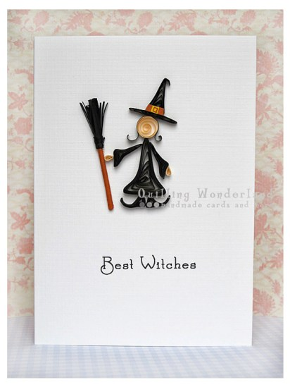 Quilled Halloween Witch Happy Halloween Card