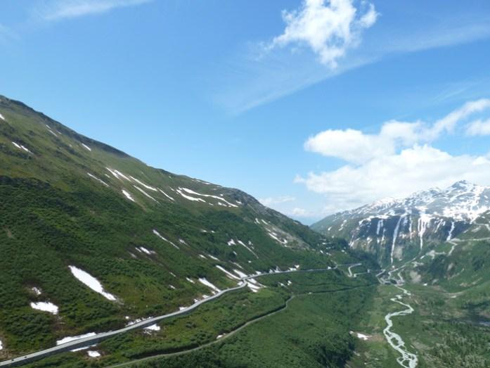 Viagem de mota pela Suíça e Alpes. Em Furkapass.