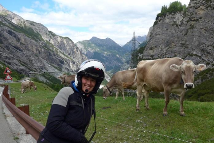 Viagem de mota aos Alpes. Stelvio Pass numa viagem de mota pelos Alpes Italianos