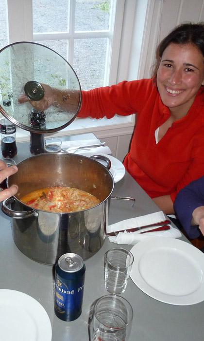 Refeição cozinhada no parque de Campismo de Geiranger.