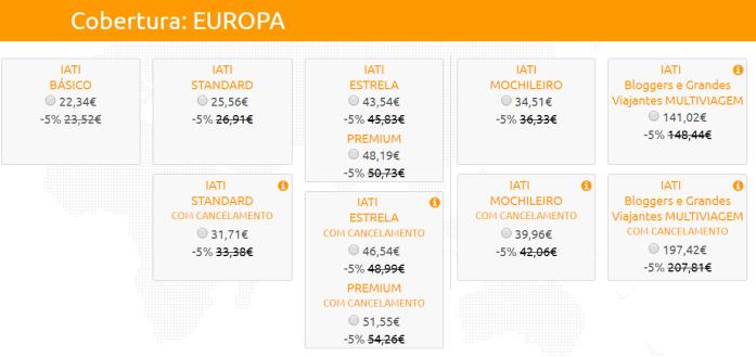 Cotação para 15 dias de seguro de viagem IATI pela Europa