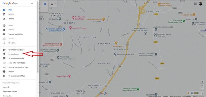 Aceder aos ''Os meus Locais'' no Menu do Google Maps