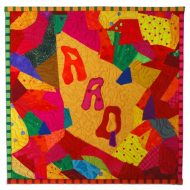"""AAQ"" Alliance for American Quilts in a Crazy Style"", 2009, for the ""Crazy for Quilts"" contest."