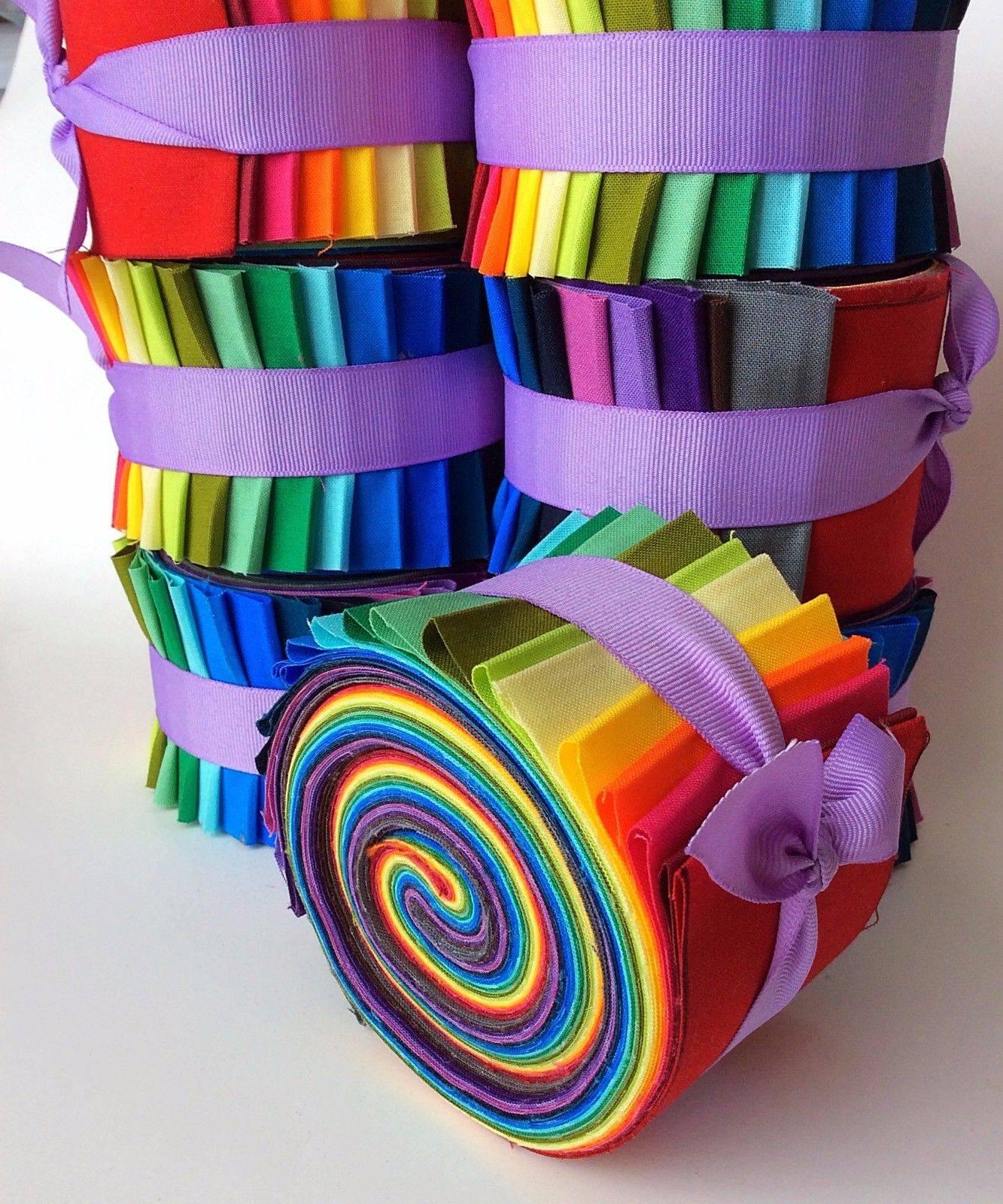 25 Inch Rainbow Jelly Roll Fabric Quilting Strips Moda