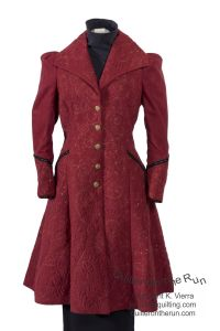 steampumk jacket crystals red victorian hand sewn