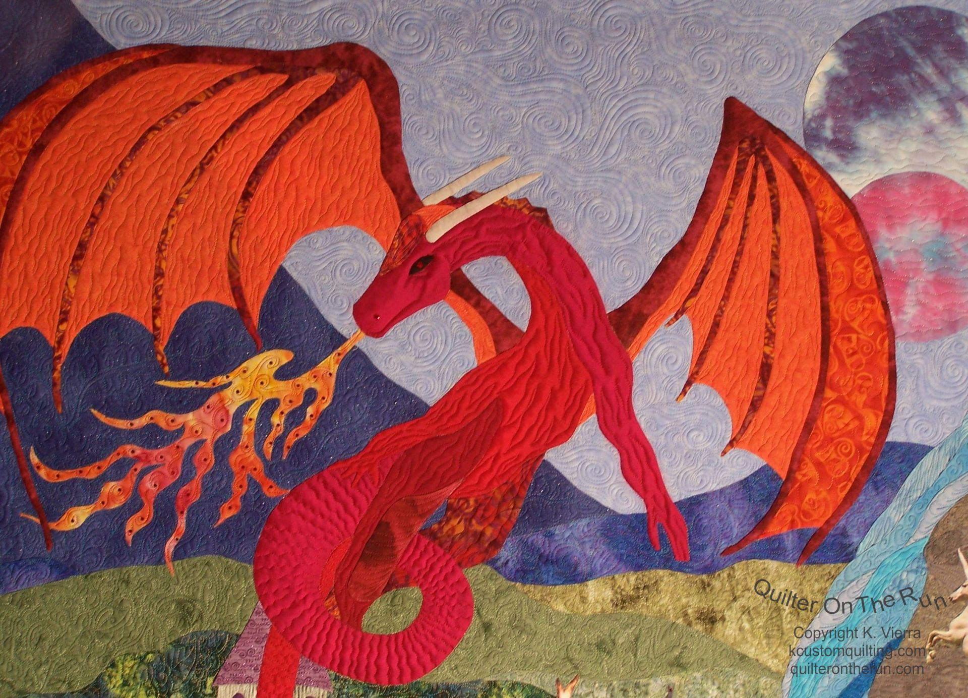 fire breathing dragon silk quilting gammill longarm freehand