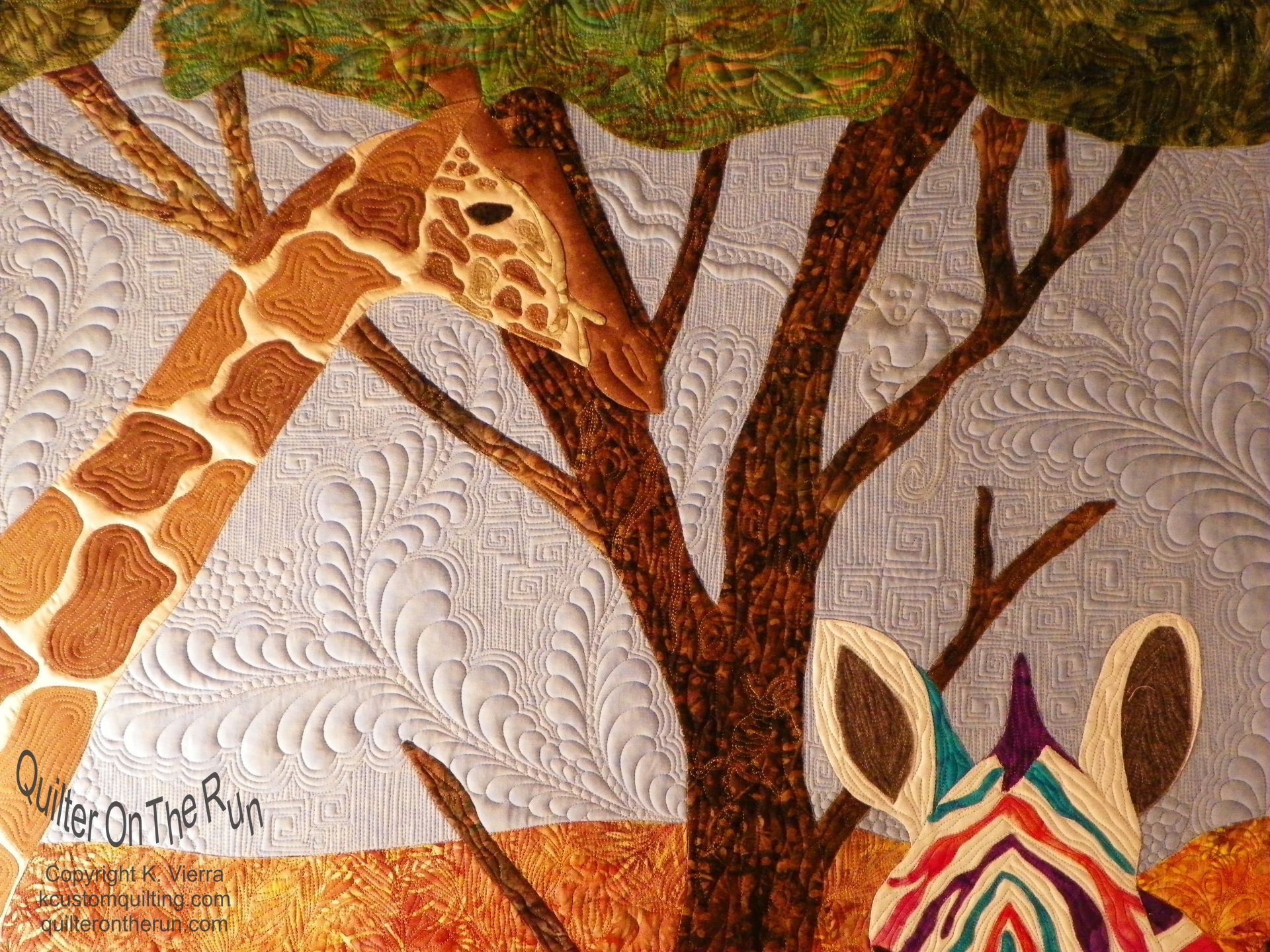 rainbow zebra giraffe quilt freehand feathers gammill applique longarm