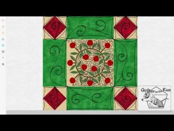 Free Motion Quilting Ideas Framed Christmas Wreath Variation #1