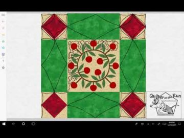 Free Motion Quilting Ideas Framed Christmas Wreath Variation #2