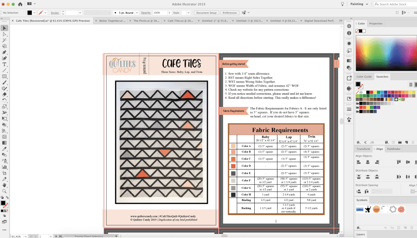 Using Adobe Illustrator to write quilt patterns