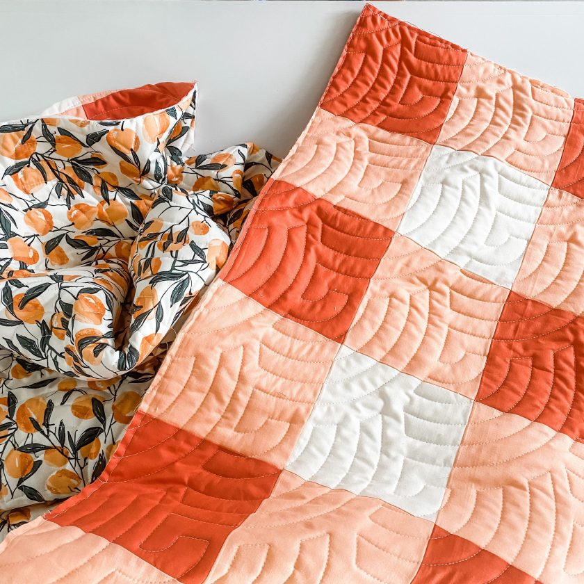 GIngham Quilt in Orange Fabrics by Art Gallery Fabrics