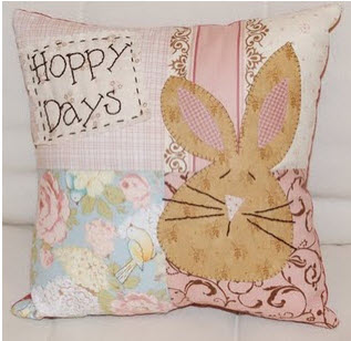 Easter Pillow With Bunny Applique Quilting