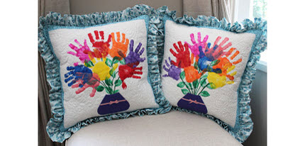 quilted hand print pillows teacher gift