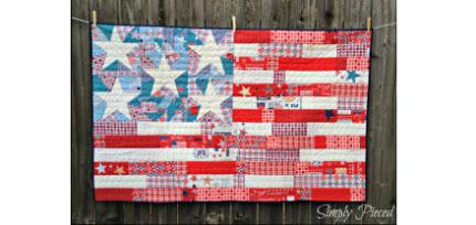 Ta Dah flag quilt for mom