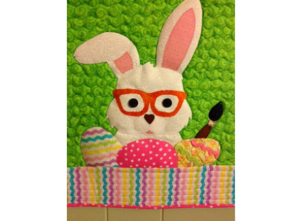 bunny with glasses wall hanging