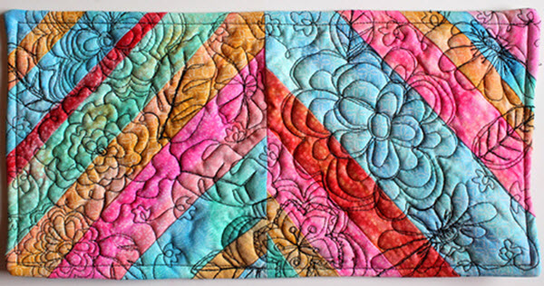 Gelato painted fabric mini quilt