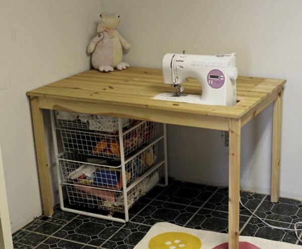 sink machine in wooden table DIY