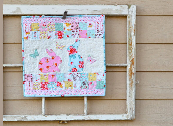 bunny applique mini quilt and pillow
