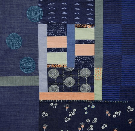 InstaStitch Log Cabin Quilt Block in Denim