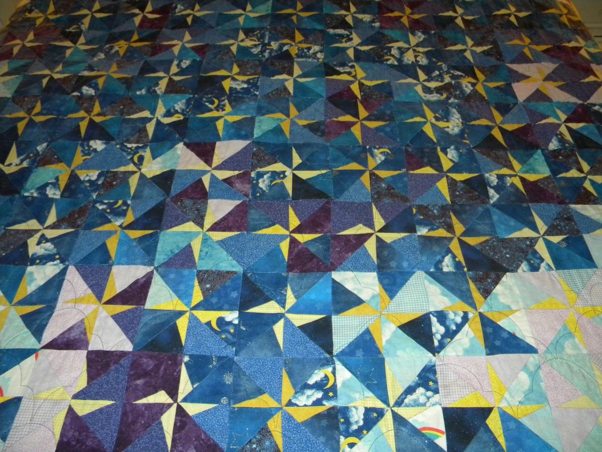 College Star Quilt - Detail