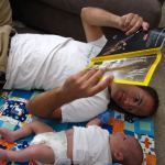 Seeing Squares with Dad and Max, 1 Month