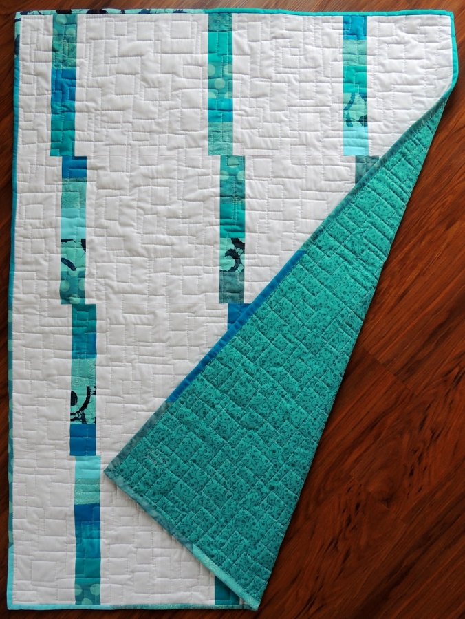 Spring Rain Baby Quilt III - Teal and White