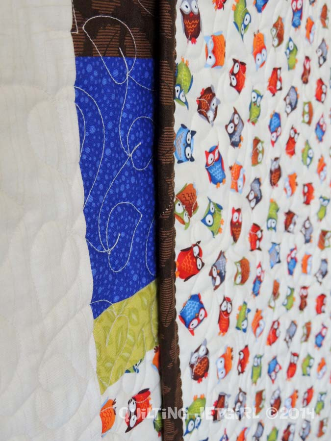 Owl City Baby Quilt - Detail