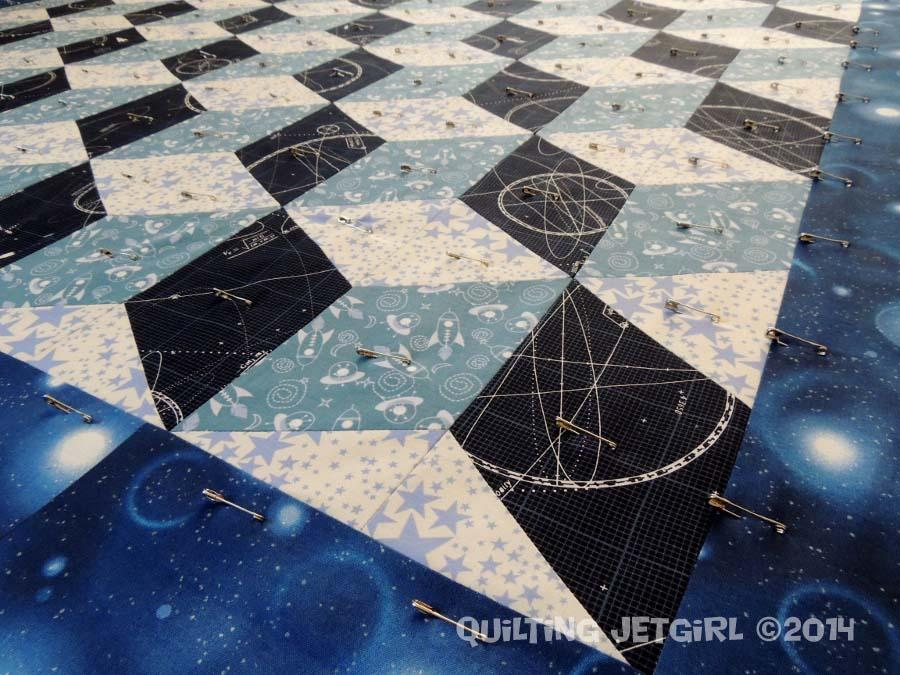 Space Age Tumbling Blocks - Pin Basting