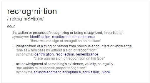 definition for recognition