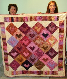 Mom, Yvonne, and Quilt