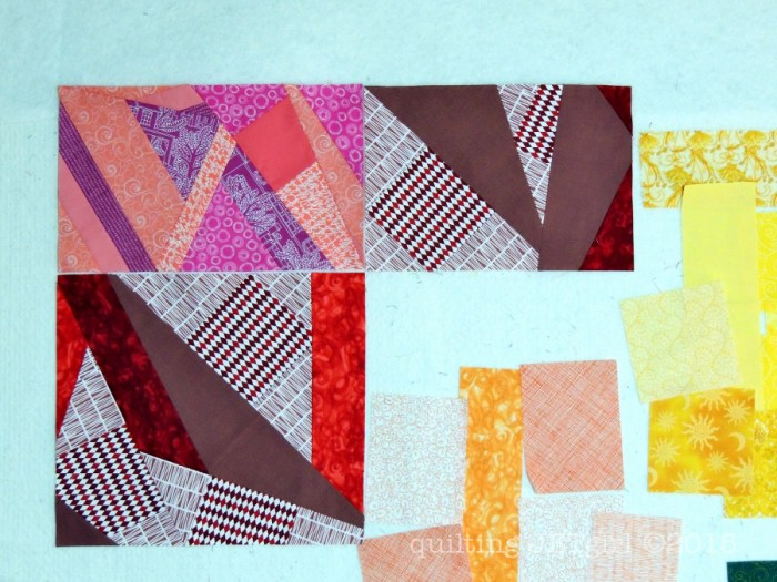 Rainbow Scrap Quilt - Pink and Red Block s
