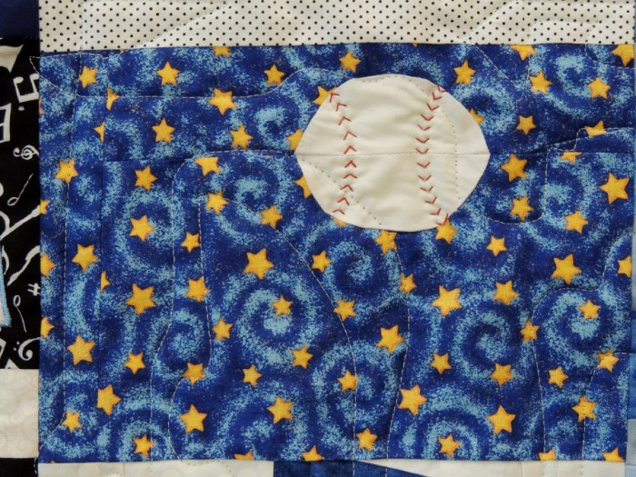 Baseball Block - Hand Quilting Detail