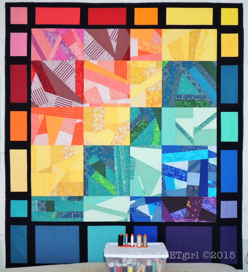 Rainbow Scrap Quilt - Finished Flimsy