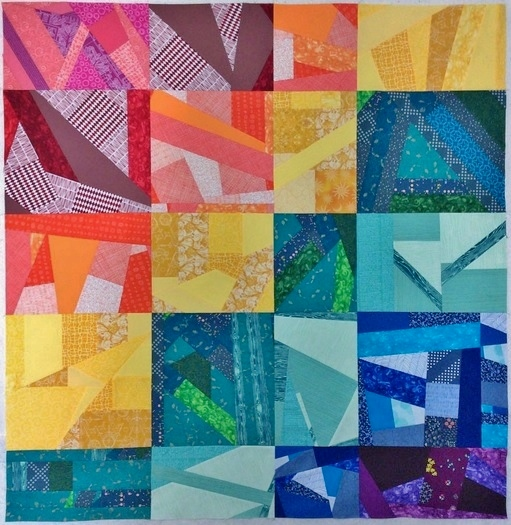 Rainbow Improv Scrap Quilt - No Borders