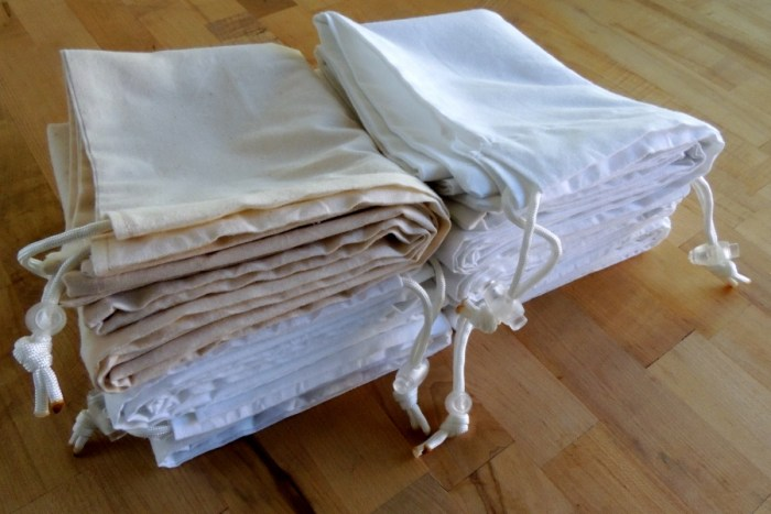 A Recent Commission Through Etsy: 6 Large Archival Muslin Drawstring Bags