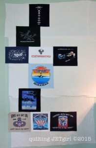 Missing Man TShirt Quilt: Scaled Formation (top) and Air Force Formation (bottom)