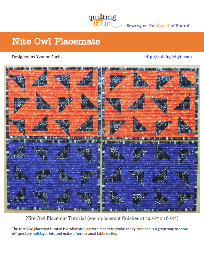 Nite Owl Placemat Tutorial Cover