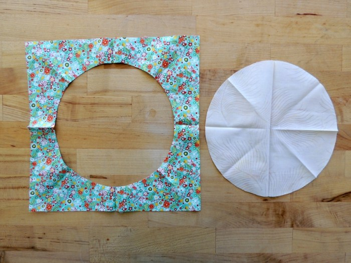 Sewing Full Circles: Opened Background and Circle with Indication Marks