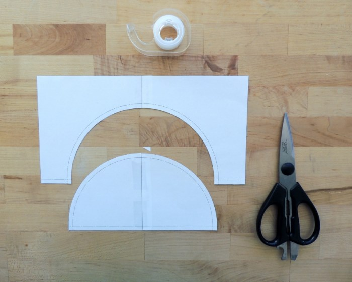 Sewing Full Circles: Tape the Templates and Trim Corner of Half Circle Template
