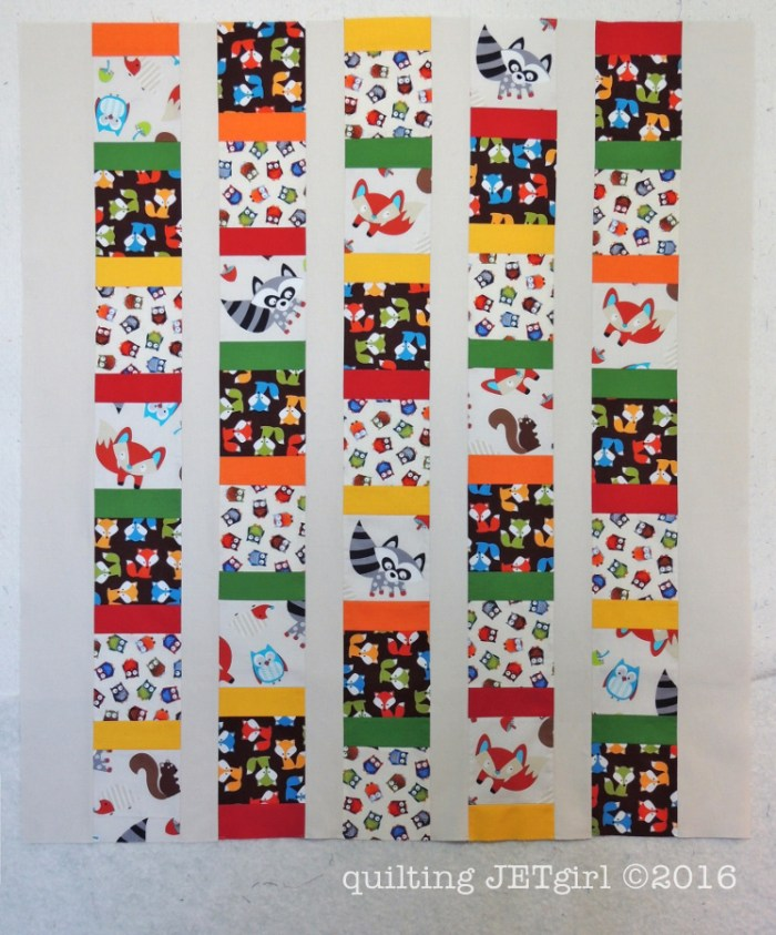 Woodland Animals Baby Quilt Finished Flimsy