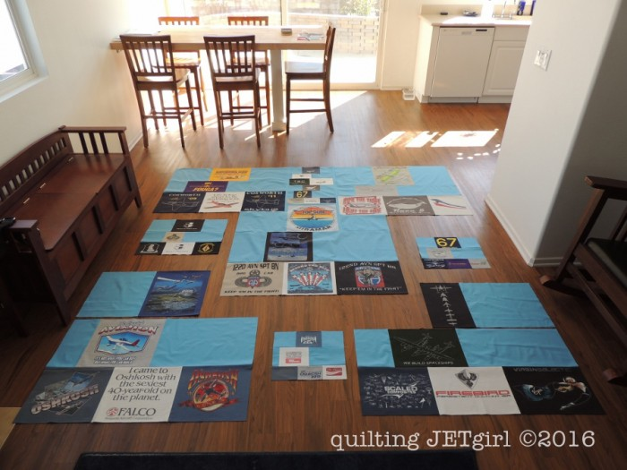 Missing Man TShirt Quilt - Piecing the Top
