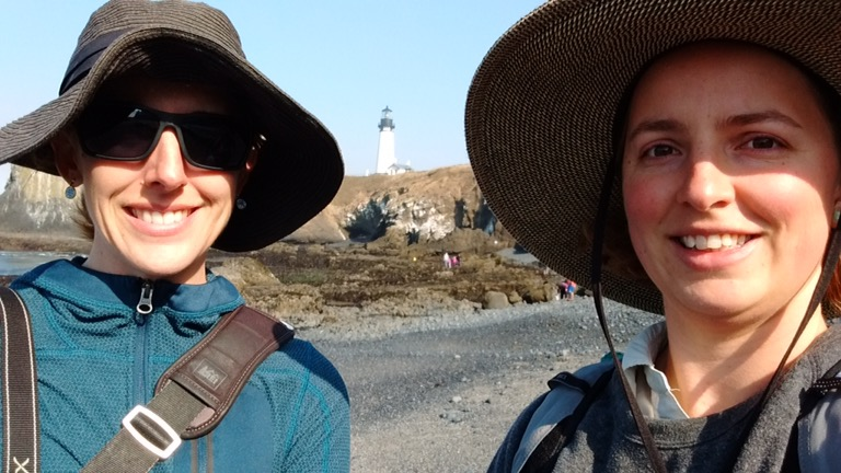 Yvonne and Renee at Yaquina Head Lighthouse