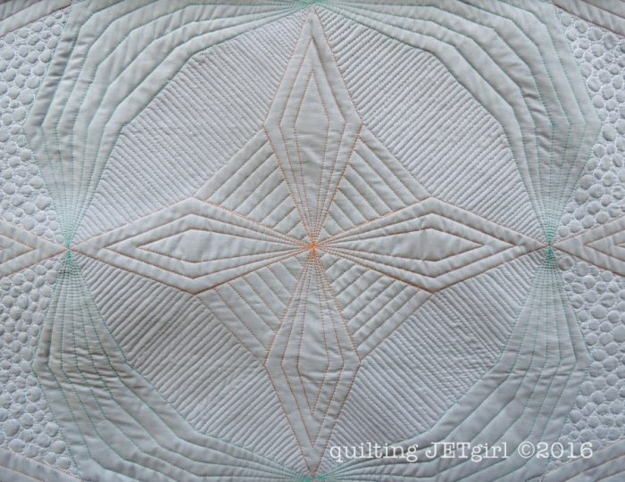 Kaleidoscope Mini Quilt - Detailed Quilting View from Back
