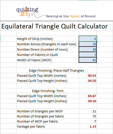Equilateral Triangle Quilt Calculator