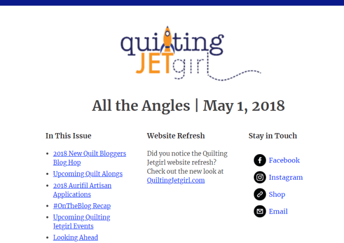 All the Angles - Quilting Jetgirl Newsletter