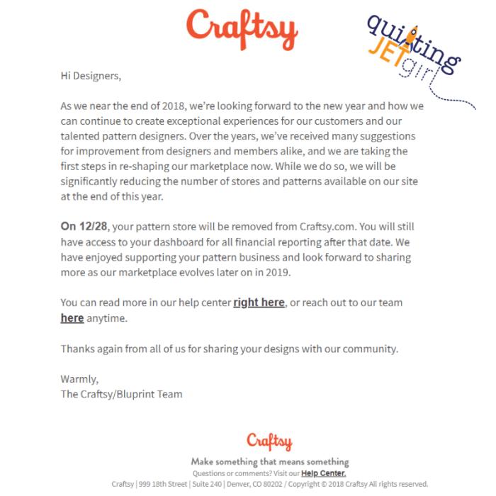 Craftsy Notice