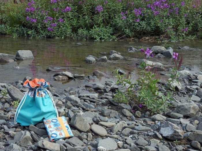Lined Drawstring Bag and Organizer Wallet – photographed by the headwaters of the Atigun River, Alaska