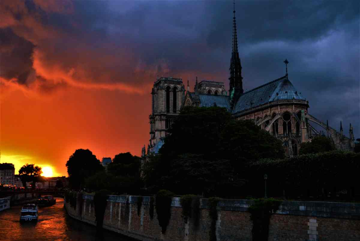 Photo POSTcard: Sun Set Over Notre Dame de Paris