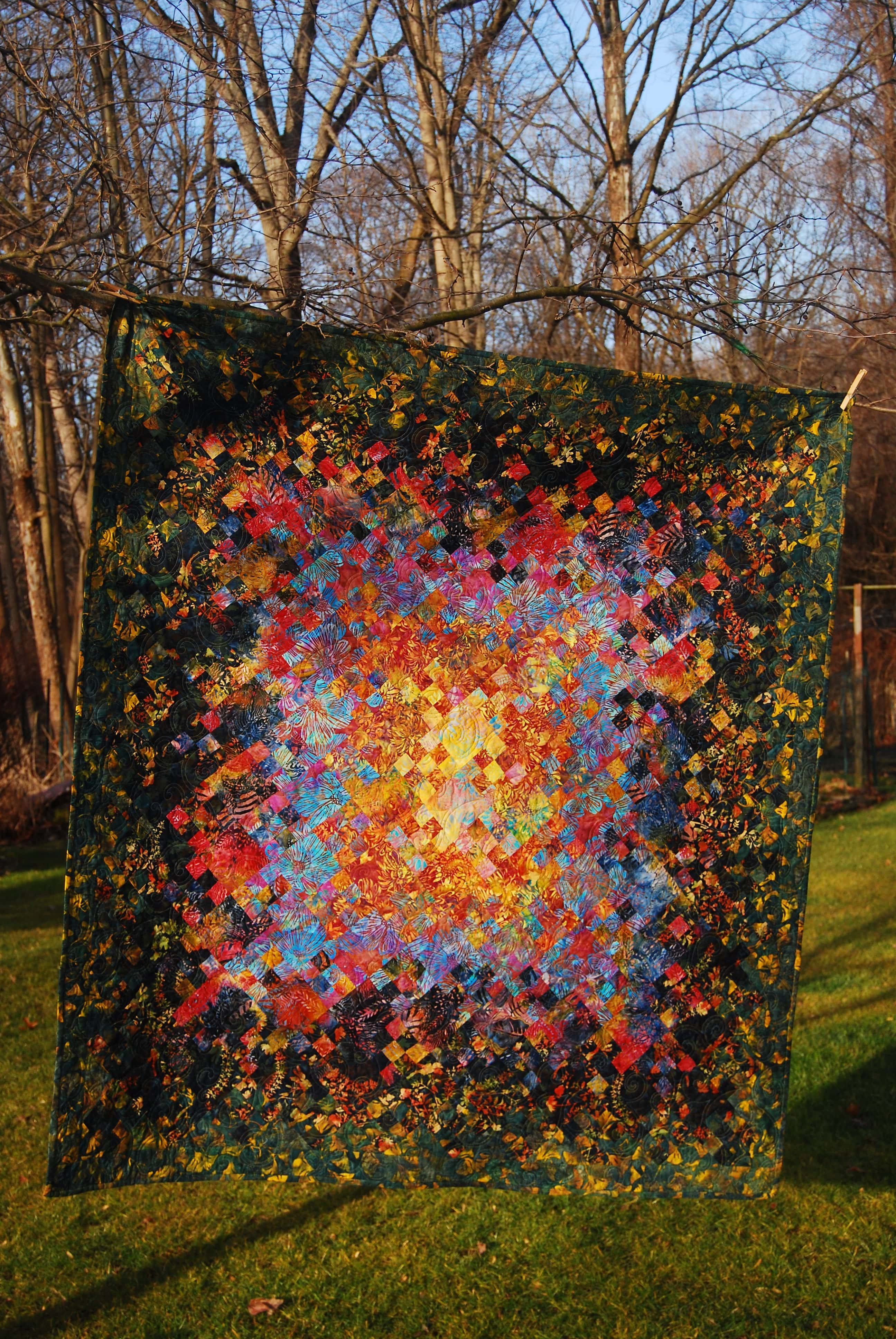 Blooming Nine Patch quilt design