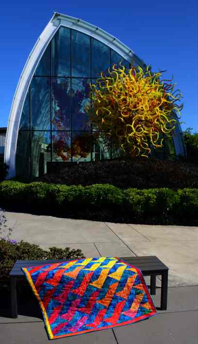 "The front of ""In Chihuly's Garden"" quilt"